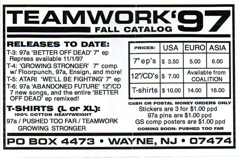 Teamwork Records Fall 1997