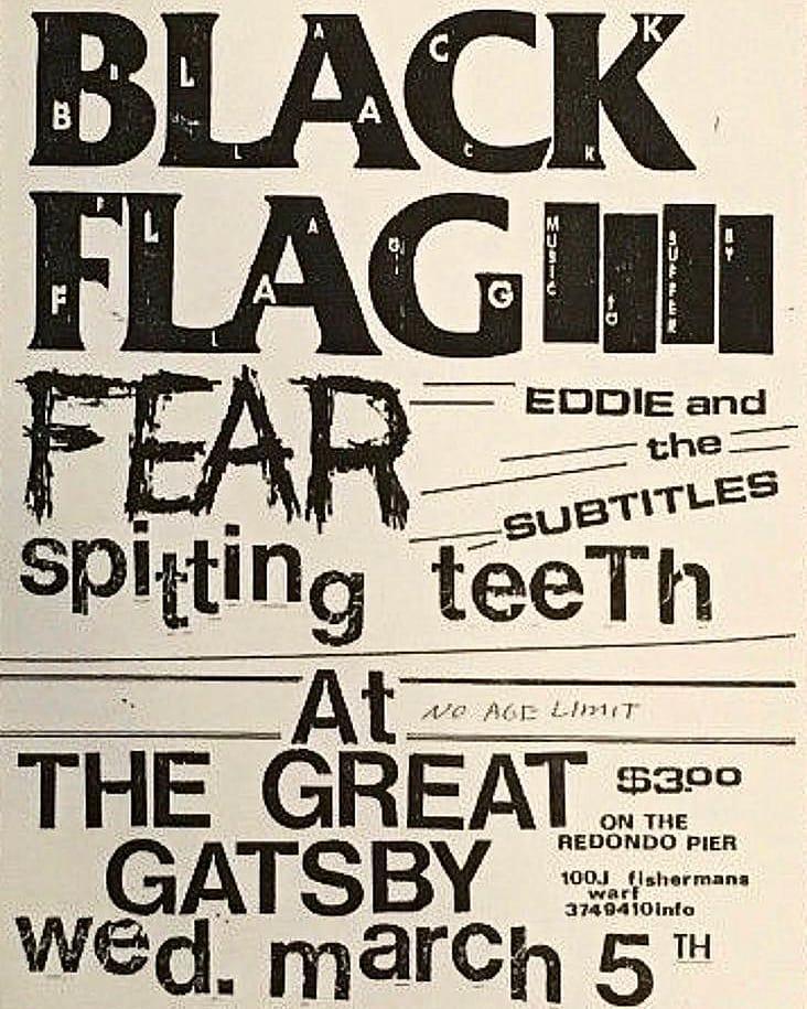 Black Flag-Fear-Eddie & The Subtitles-Spitting Teeth @ Redondo Beach CA 3-5-80
