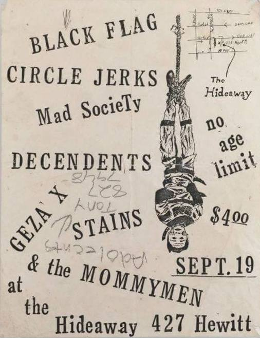 Black Flag-Circle Jerks-Mad Society-Descendents-Stains-Geza X @ Los Angeles CA 9-19-80