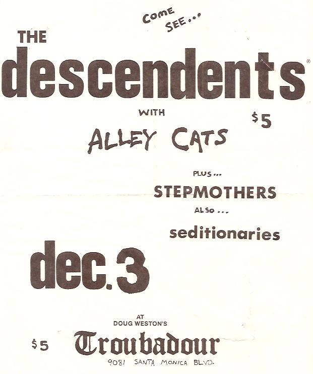 Descendents-Alley Cats-Step Mothers-Seditionaries @ Hollywood CA 12-3-80