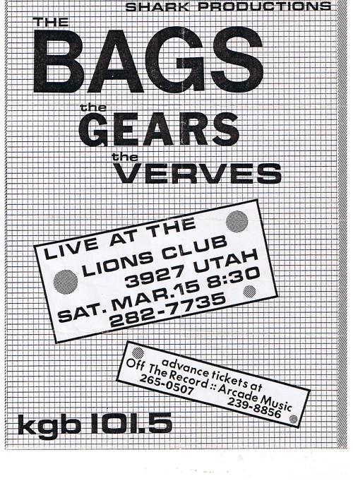 The Bags-The Gears-The Verves @ San Diego CA 3-15-80
