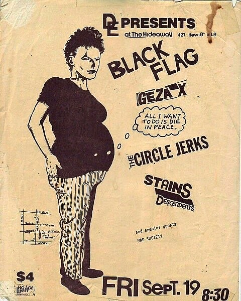 Black Flag-Geza X-Circle Jerks-Stains-Descendents @ Los Angeles CA 9-19-80