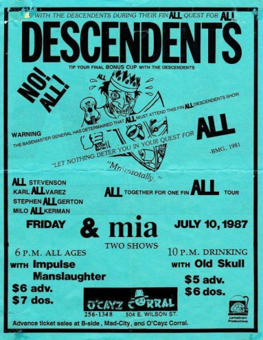 Descendents-MIA-Impulse Manslaughter-Old Skull @ Chicago IL 7-10-87