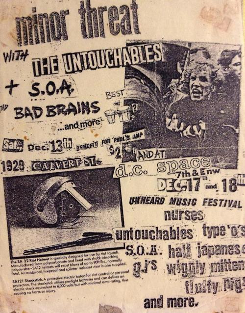 Minor Threat-Untouchables-SOA-Bad Brains @ Washington DC 12-13-80