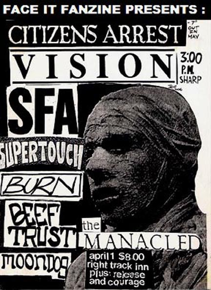 Citizens Arrest-Vision-SFA-Burn-Supertouch-Beef Trust-The Manacled-Moondog-Release-Courage @ Newport NY 4-1-90