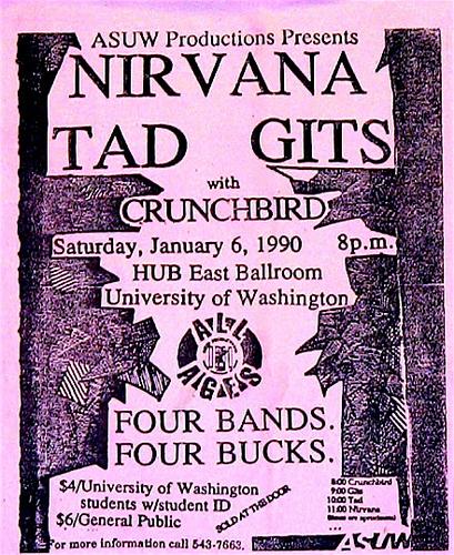 Nirvana-Tad-The Gits-Crunch Bird @ Seattle WA 1-6-90