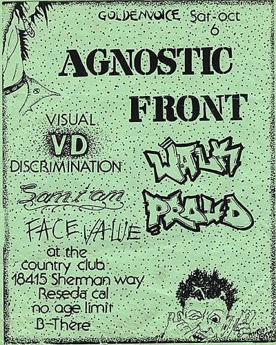 Agnostic Front-Walk Proud-Visual Discrimination-Samiam-Face Value @ Reseda CA 10-6-90
