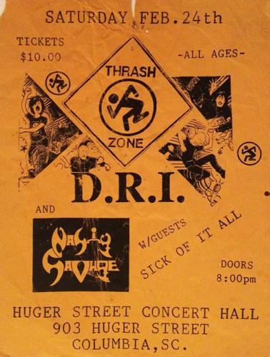 DRI-Nasty Savage-Sick Of It All @ Columbia SC 2-24-90