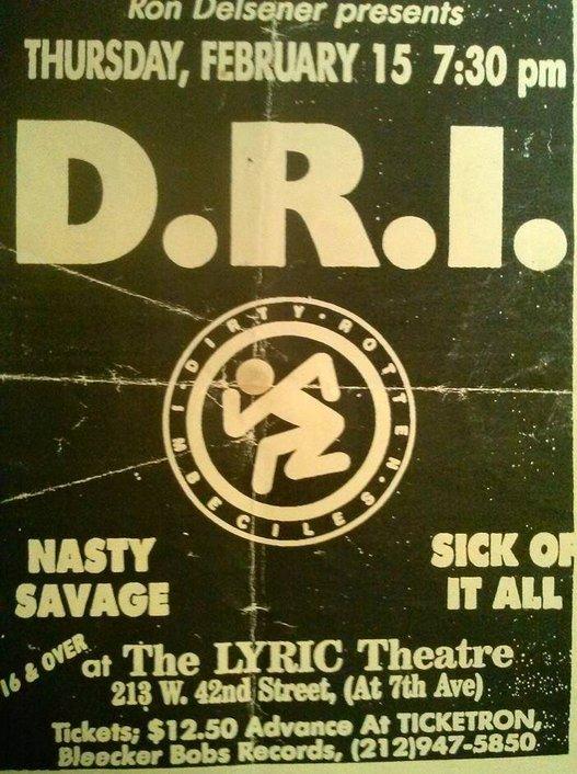 DRI-Nasty Savage-Sick Of It All @ New York City NY 2-15-90
