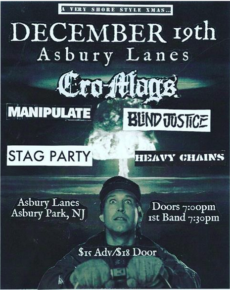 Cro Mags-Manipulate-Blind Justice-Stag Party-Heavy Chains @ Asbury Park NJ 12-19-13