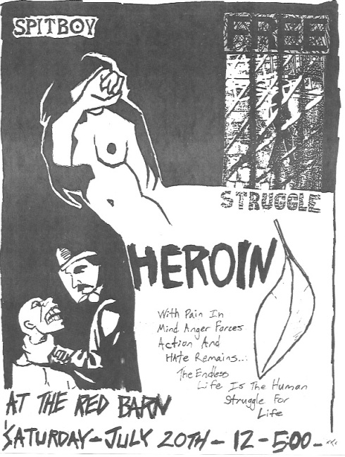 Heroin-Spitboy-Pain In Mind-Anger Forces Action-Hate Remains @ Santa Barbara CA 7-20-91