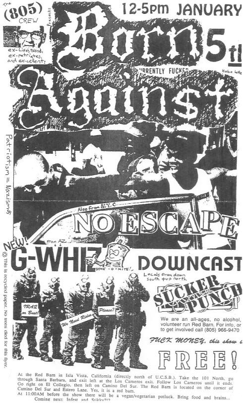 Born Against-No Escape-G Whiz-Downcast-Sucker Punch @ Santa Barbara CA 1-5-91