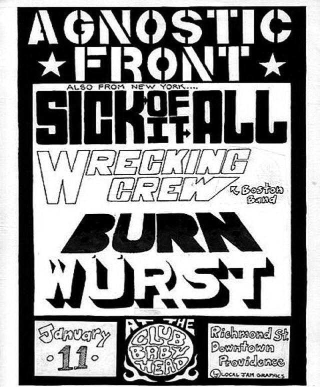 Agnostic Front-Sick Of It All-Wrecking Crew-Burn @ Providence RI 1-11-91