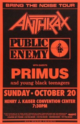 Anthrax-Public Enemy-Primus-Young Black Teenagers @ Oakland CA 10-20-91