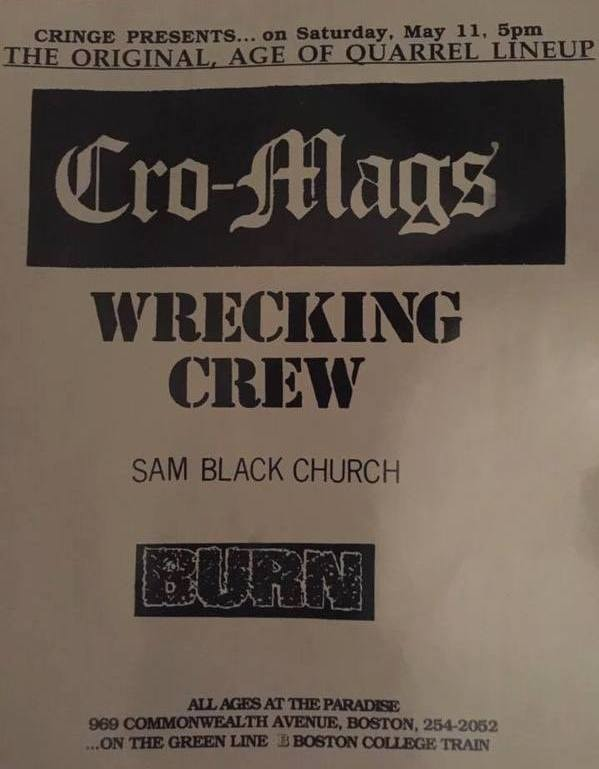 Cro Mags-Wrecking Crew-Sam Black Church-Burn @ Boston MA 5-11-91