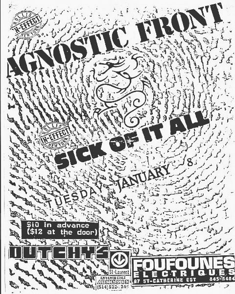 Agnostic Front-Sick Of It All @ Montreal Canada 1-8-91