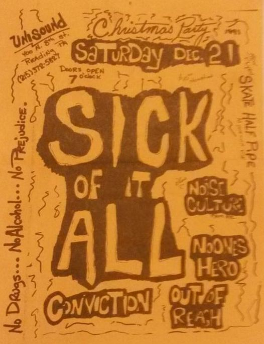 Sick Of It All-Noise Culture-No One's Hero-Conviction-Out Of Reach @ Reading PA 12-21-91