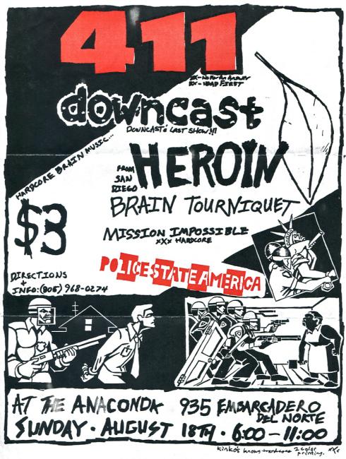 411-Downcast-Heroid-Brain Tourniquet-Mission Impossible @ Del Norte CA 8-18-91