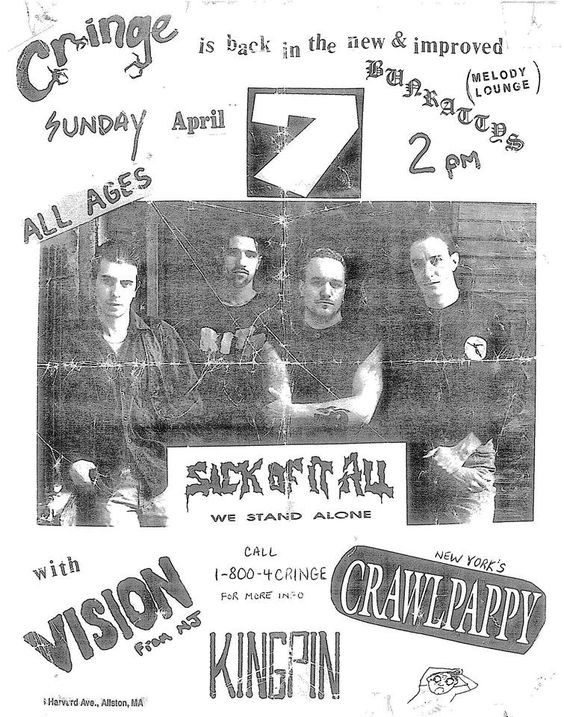 Sick Of It All-Vision-Crawl Pappy-Kingpin @ Alston MA 4-7-91