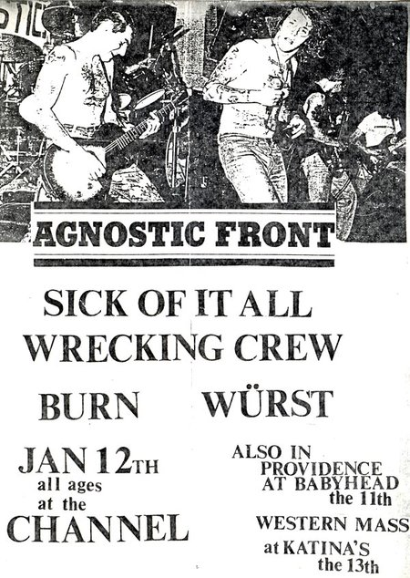 Agnostic Front-Sick Of It All-Wrecking Crew-Burn-Wurst @ Boston MA 1-12-91
