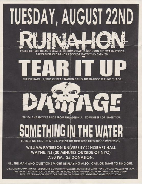 Ruination-Tear It Up-Damage-Something In The Water @ Wayne NJ 8-22-00