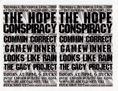 The Hope Conspiracy-Commin' Correct-Game Winner-Looks Like Rain-The Gacy Project @ Baltimore MD 12-14-00