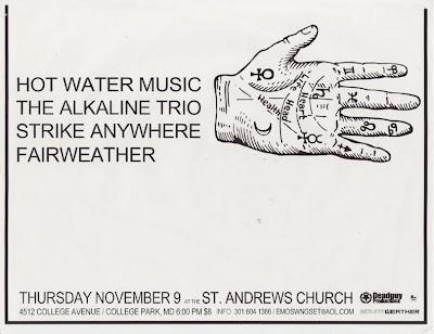 Hot Water Music-Alkaline Trio-Strike Anywhere-Fair Weather @ Washington DC 11-9-00