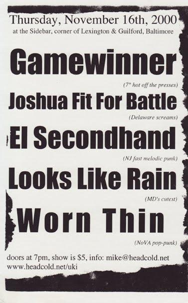 Game Winner-Joshua Fit For Battle-El Second Hand-Looks Like Rain-Worn Thin @ Baltimore MD 11-16-00