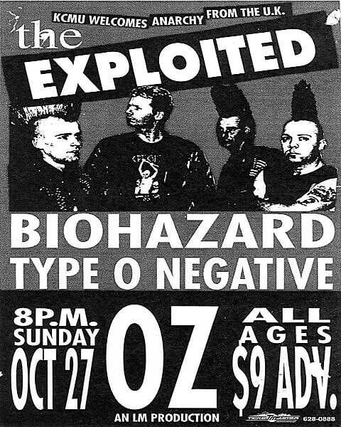 The Exploited-Biohazard-Type O Negative @ Pittsburgh PA 10-27-91