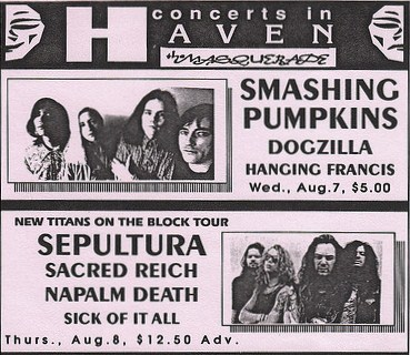 Sepultura-Sacred Reich-Napalm Death-Sick Of It All @ New Haven CT 8-8-91
