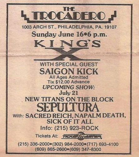 Sepultura-Sacred Reich-Napalm Death-Sick Of It All @ Philadelphia PA 7-21-91