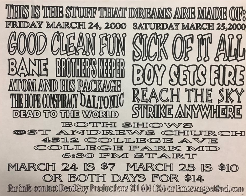Good Clean Fun-Bane-Brother's Keeper-Atom & His Package-The Hope Conspiracy-Daltonic-Dead To The World @ College Park MD 3-24-00