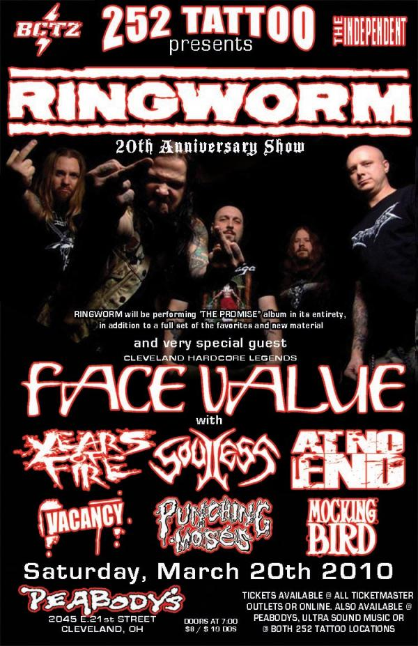 Ringworm-Face Value-Years Of Fire-Soulless-At No End-Vacancy-Punching Moses-Mocking Bird @ Cleveland OH 3-20-10