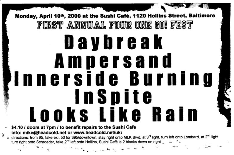 Daybreak-Ampersand-Innerside Burning-In Spite-Looks Like Rain @ Baltimore MD 4-10-00
