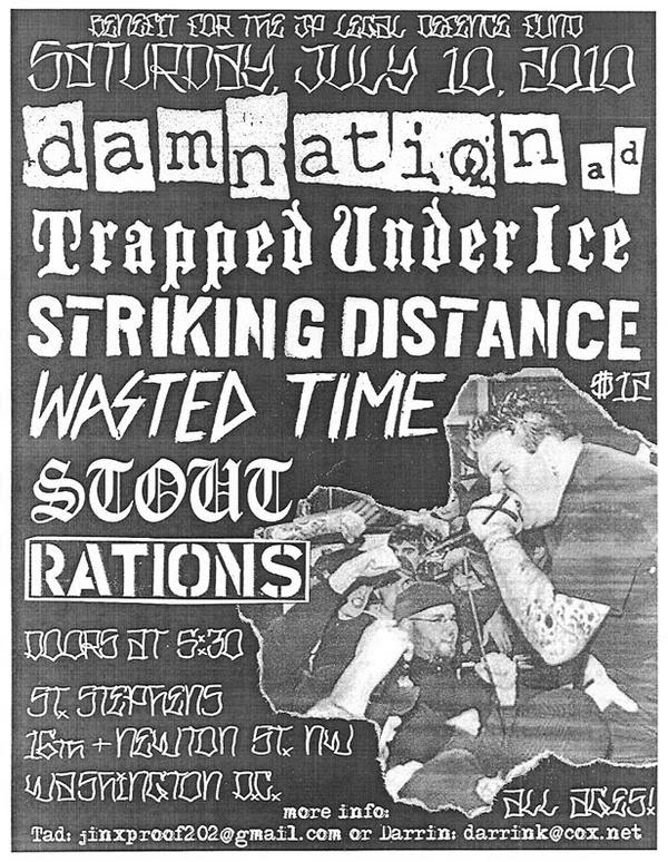 Damnation AD-Trapped Under Ice-Striking Distance-Wasted Time-Stout-Rations @ Washington DC 7-10-10