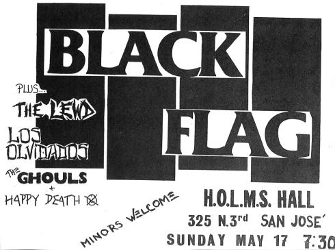 Black Flag-The Lewd-Los Olivados-The Ghouls @ San Jose CA 5-17-81