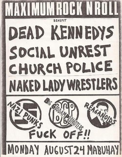 Dead Kennedys-Social Unrest-Church Police-Naked Lady Wrestlers @ San Francisco CA 8-24-81