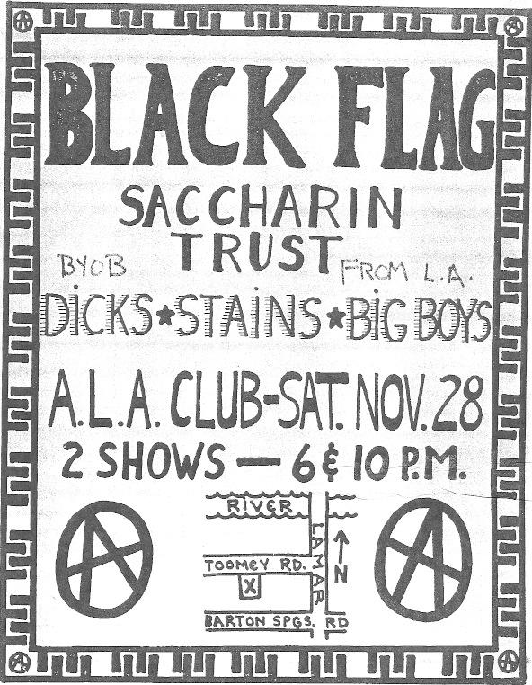 Black Flag-Saccharine Trust-The Dicks-Stains-Big Boys @ Los Angeles CA 11-28-81