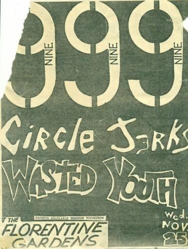 Circle Jerks-999-Wasted Youth @ Hollywood CA 11-25-81