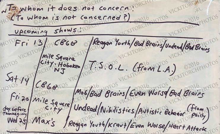 NYHC Shows 1981