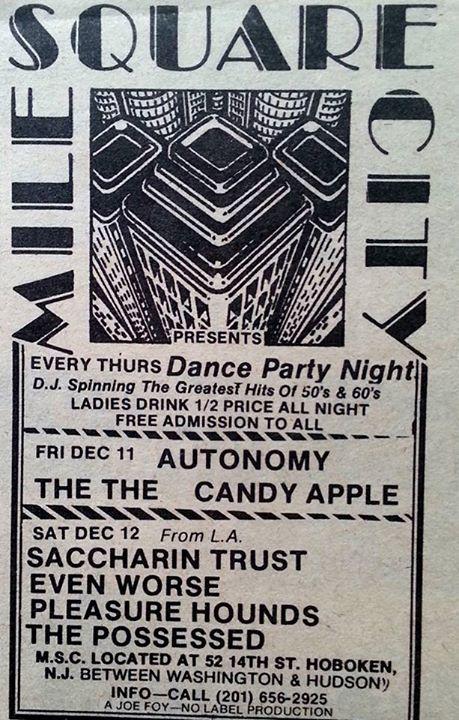 Saccharine Trust-Even Worse-Pleasure Hounds-The Possessed @ Hoboken NJ 12-12-81