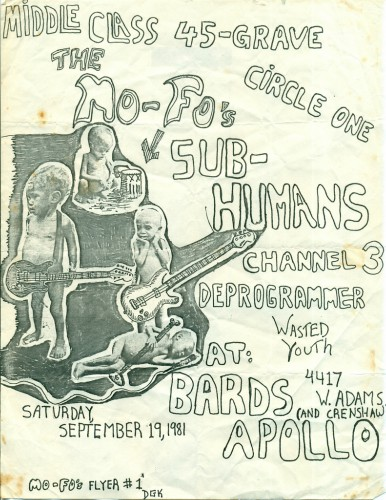 Middle Class-45 Grave-Circle One-Subhumans-Channel 3-Deprogrammer-Wasted Youth @ Santa Monica CA 9-19-81