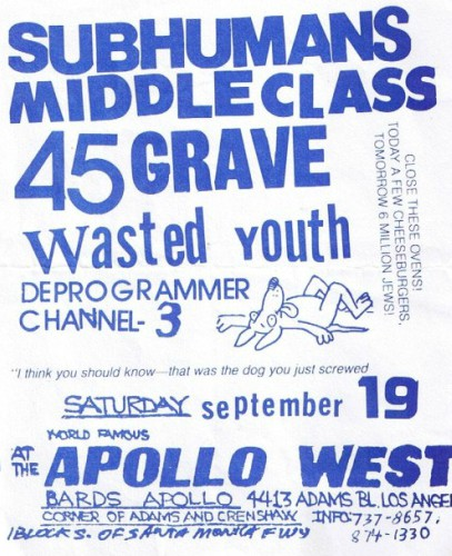 Subhumans-Middle Class-45 Grave-Wasted Youth-Deprogrammer-Channel 3 @ Los Angeles CA 9-19-81