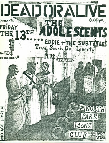 Adolescents-Eddie & The Subtitles-TSOL-Crucified Youth @ San Diego CA 2-13-81
