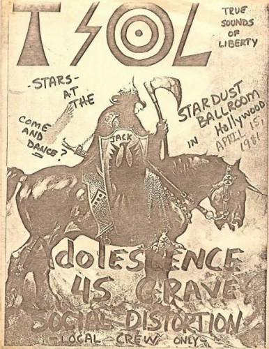 TSOL-Adolescents-45 Grave-Social Distortion @ Hollywood CA 4-15-81