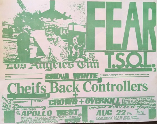 Fear-TSOL-The Crowd-Overkill @ Los Angeles CA 8-22-81