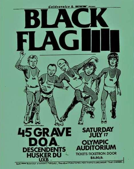 Black Flag-45 Grave-DOA-Descendents-Husker Du-UXB @ Los Angeles CA 7-17-81