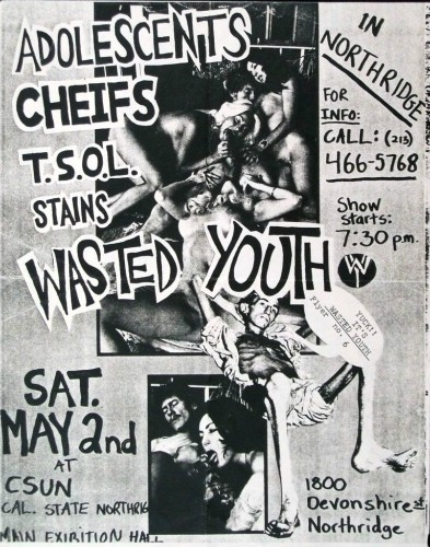 Adolescents-Chiefs-TSOL-Stains-Wasted Youth @ Northridge CA 5-2-81