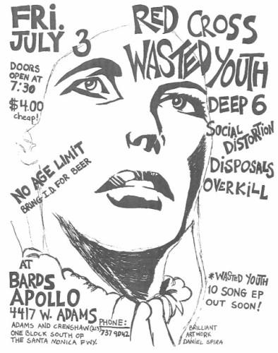 Redd Kross-Wasted Youth-Overkill-Social Distortion-Deep Six-Disposals @ Santa Monica CA 7-3-81
