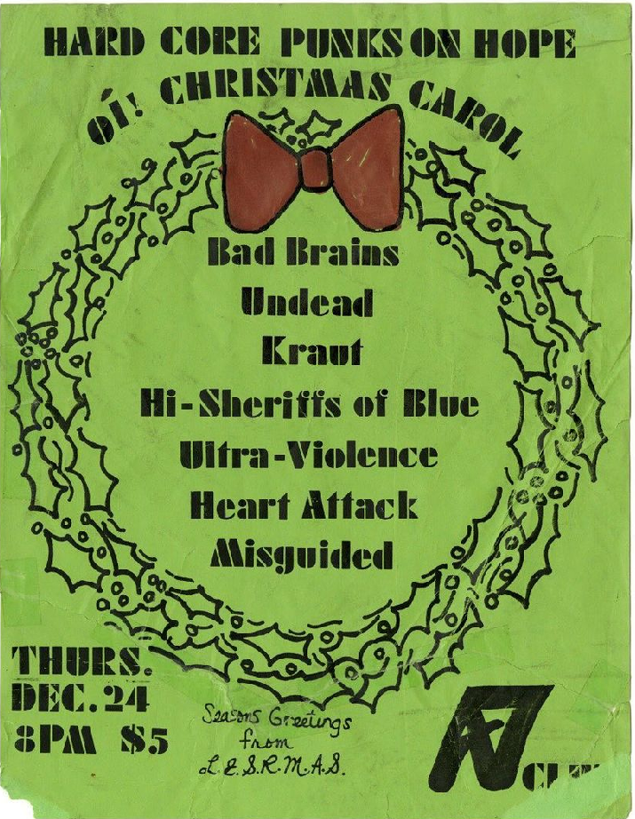 Bad Brains-The Undead-Kraut-Hi Sheriffs Of Blue-Ultra Violence-Heart Attack-Misguided @ New York City NY 12-24-81